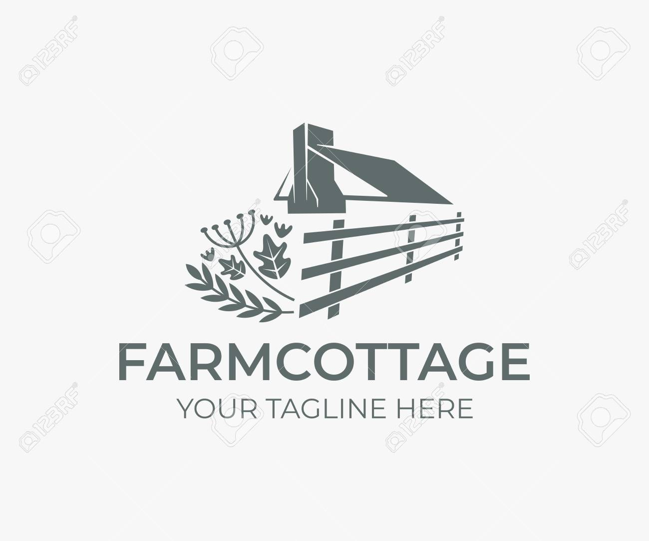 Wedding Farm Cottage Roof And Chimney With Fence And Herbs Logo Royalty Free Cliparts Vectors And Stock Illustration Image 111606790