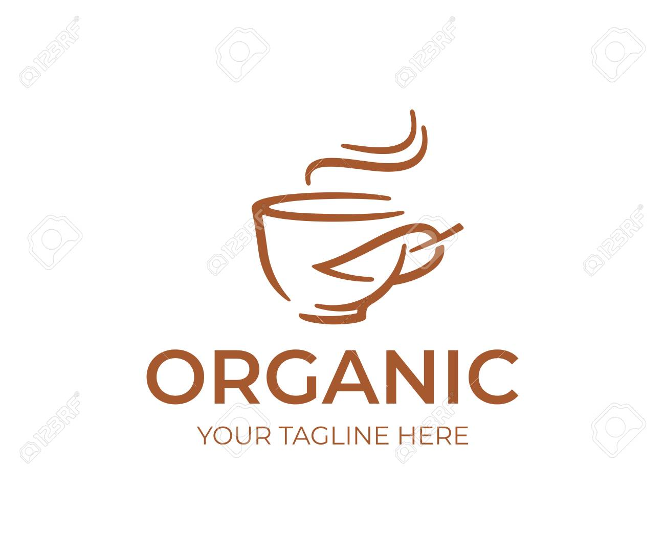 Organic cafe logo design  Coffee cup and leaf vector design