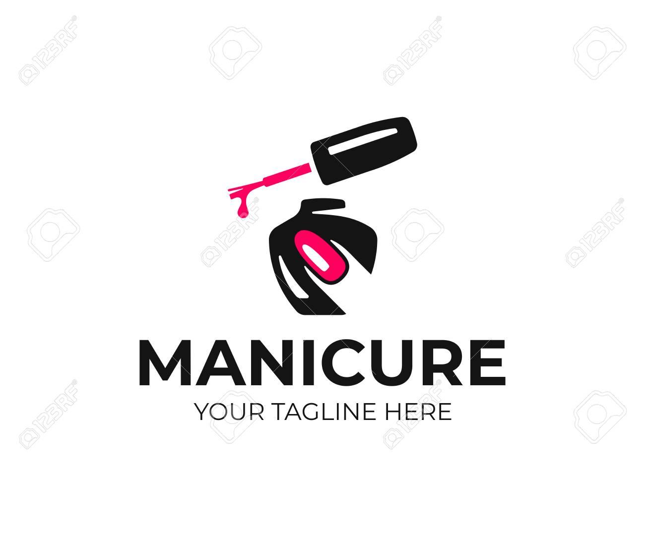 Nail salon logo design. Manicure vector design. Nail polish and female finger logotype - 114441387