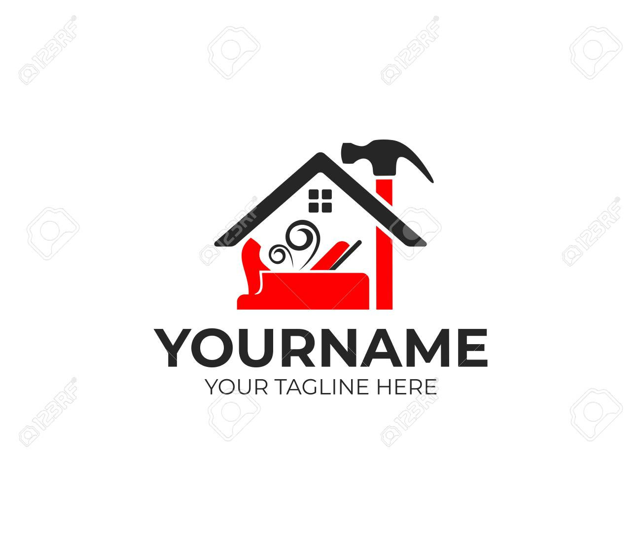 Construction and tools, carpenter or joiner plane, hammer and home logo design. House building, real estate, repair and improvement - 122375476