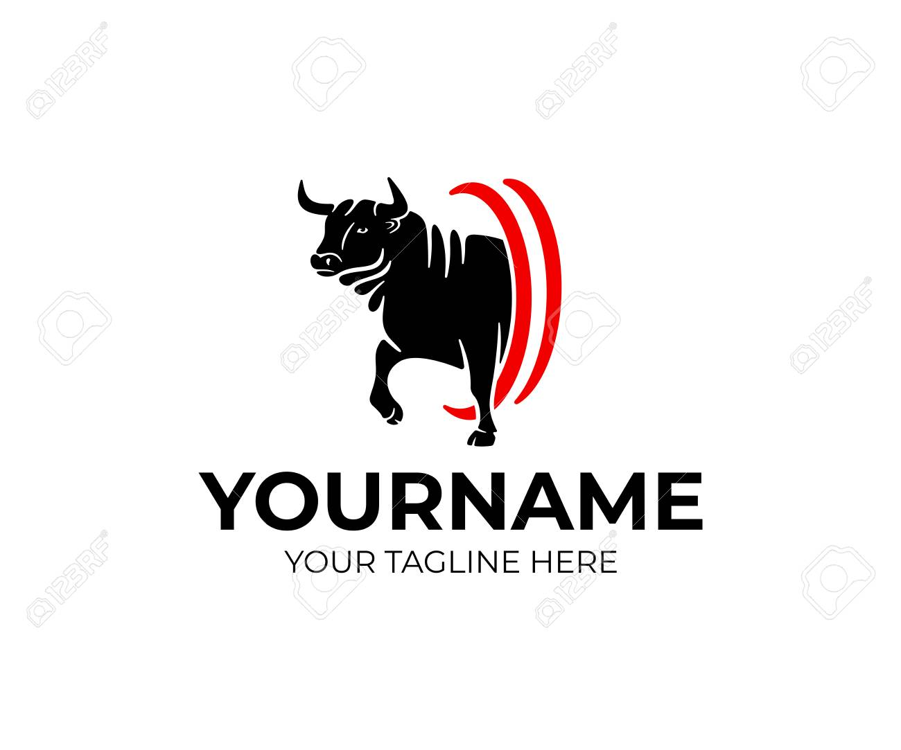 Bull aggressive goes, pet and animal, logo design. Farm, farming, ranch and cattle, vector design and illustration - 122375531