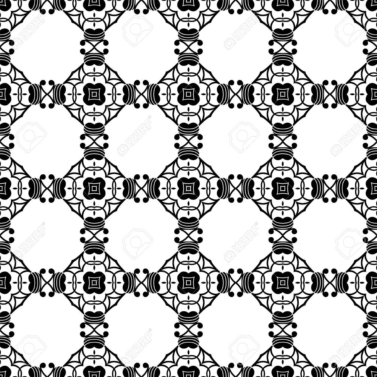Nahtlose Vintage Tapete Schwarz Weiß Muster Dekorativer