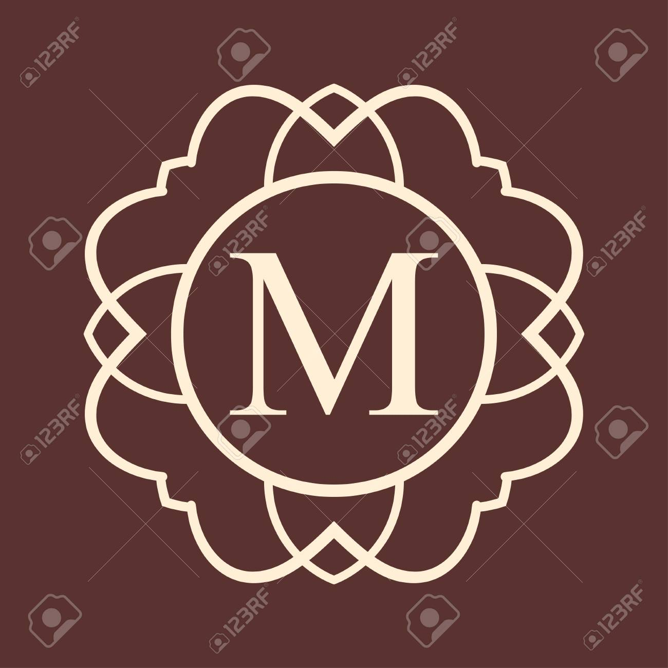 d231b9c688 Letter M Vintage ornamental monogram. Retro luxury design with ornate  elements and place for letter