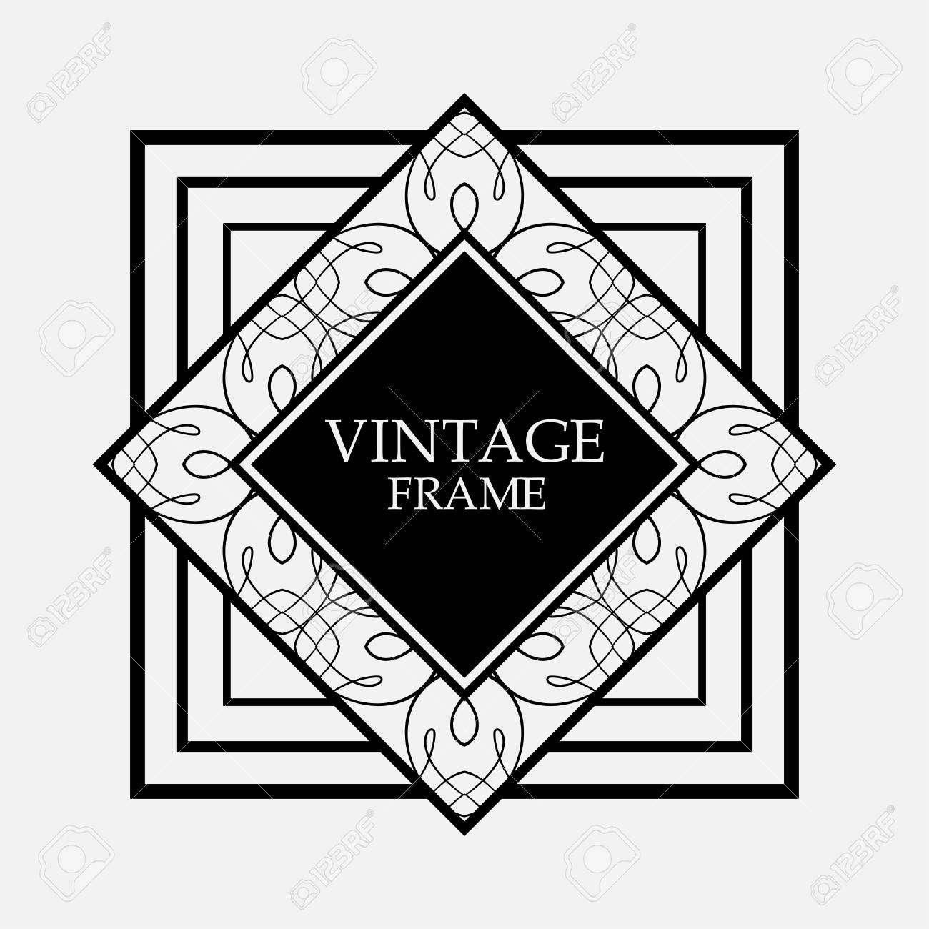 741534256c3 Art Deco black ornamental decorative frame. Vintage template Stock Vector -  101901577