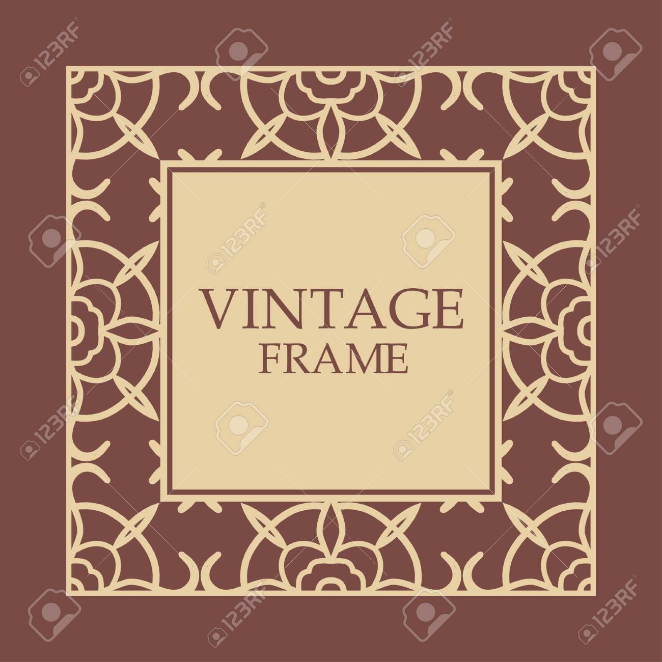 Ornate Vintage Card Design With Ornamental Border Frame Use For