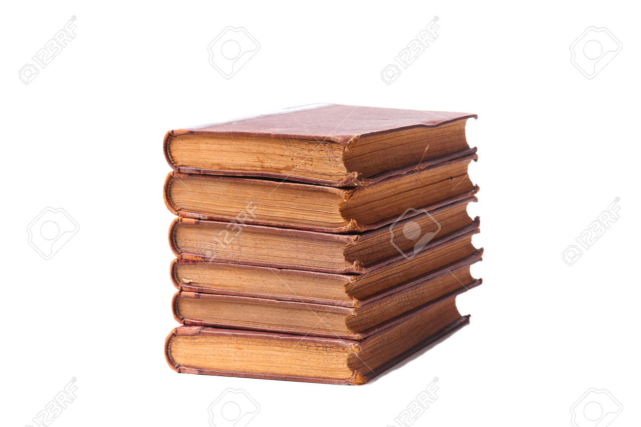 Stack of nine antique books, isolated white background. - 158596251