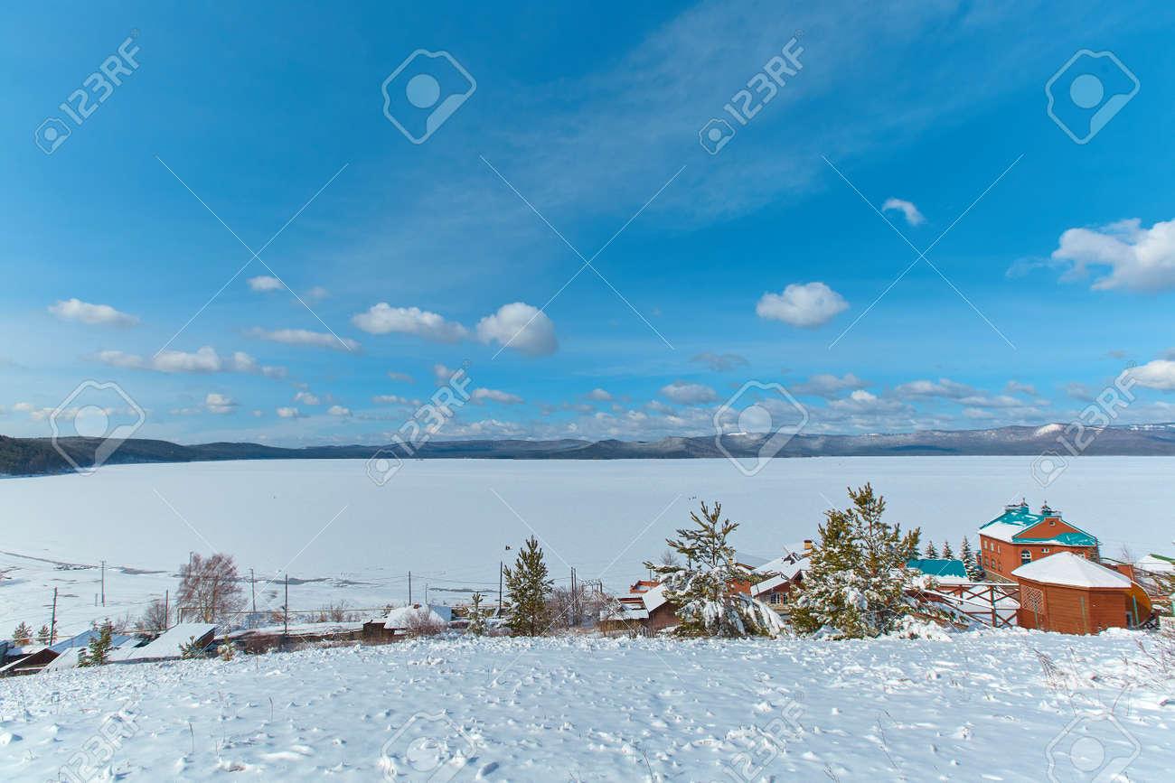A view of the lake Turgoyak in the winter. Chelyabinsk region, Miass city. - 158639478