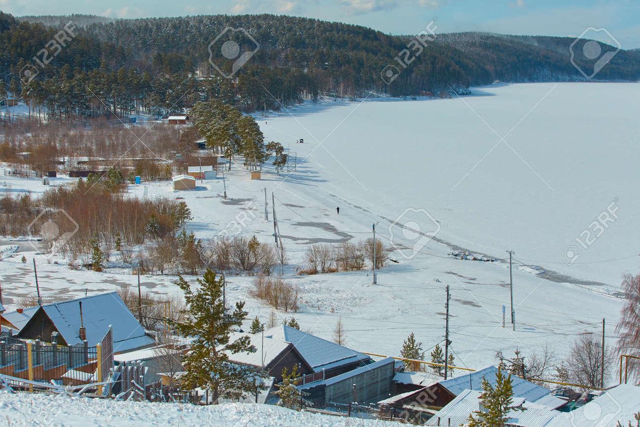 A view of the lake Turgoyak in the winter. Chelyabinsk region, Miass city - 158639729