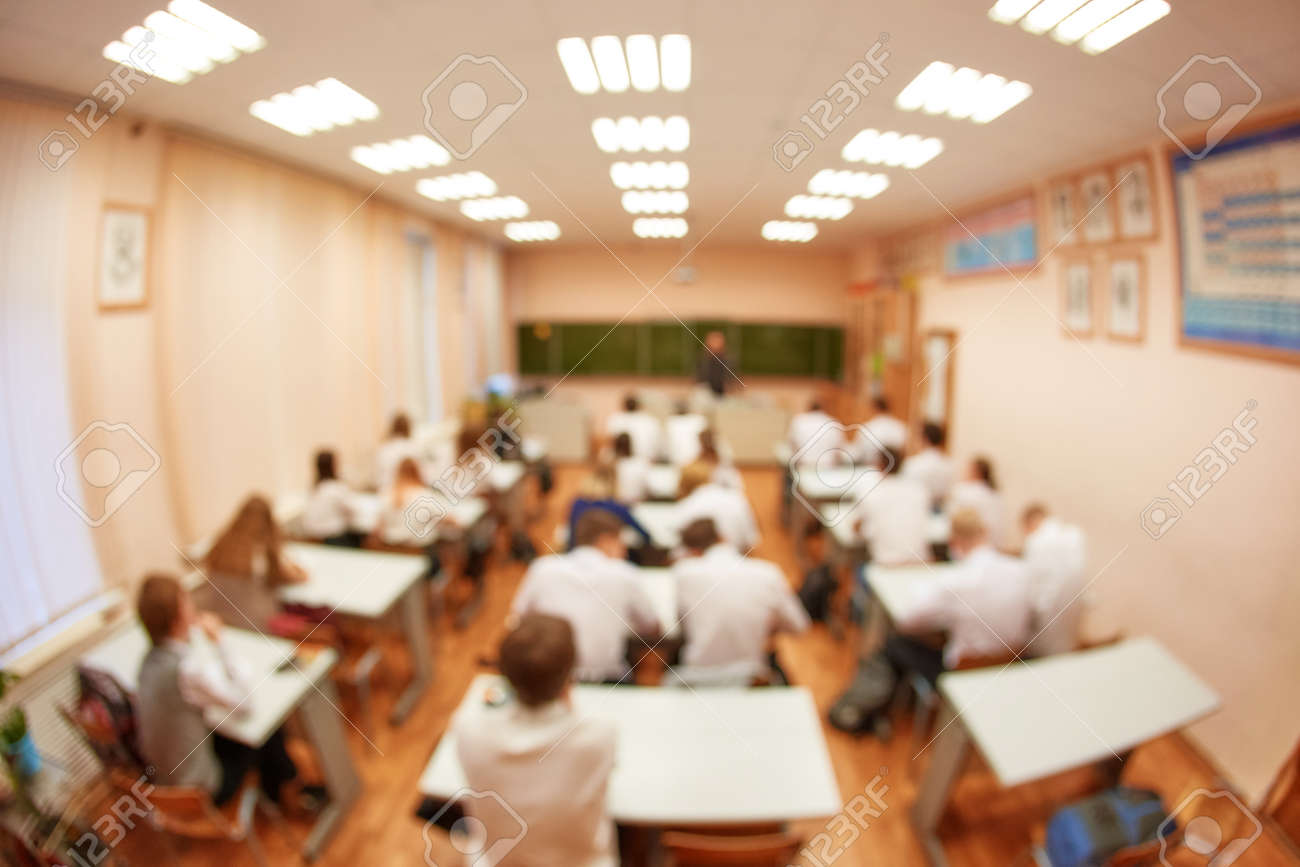 Blurred focus. Abstract background of class room with pupils. - 158561434