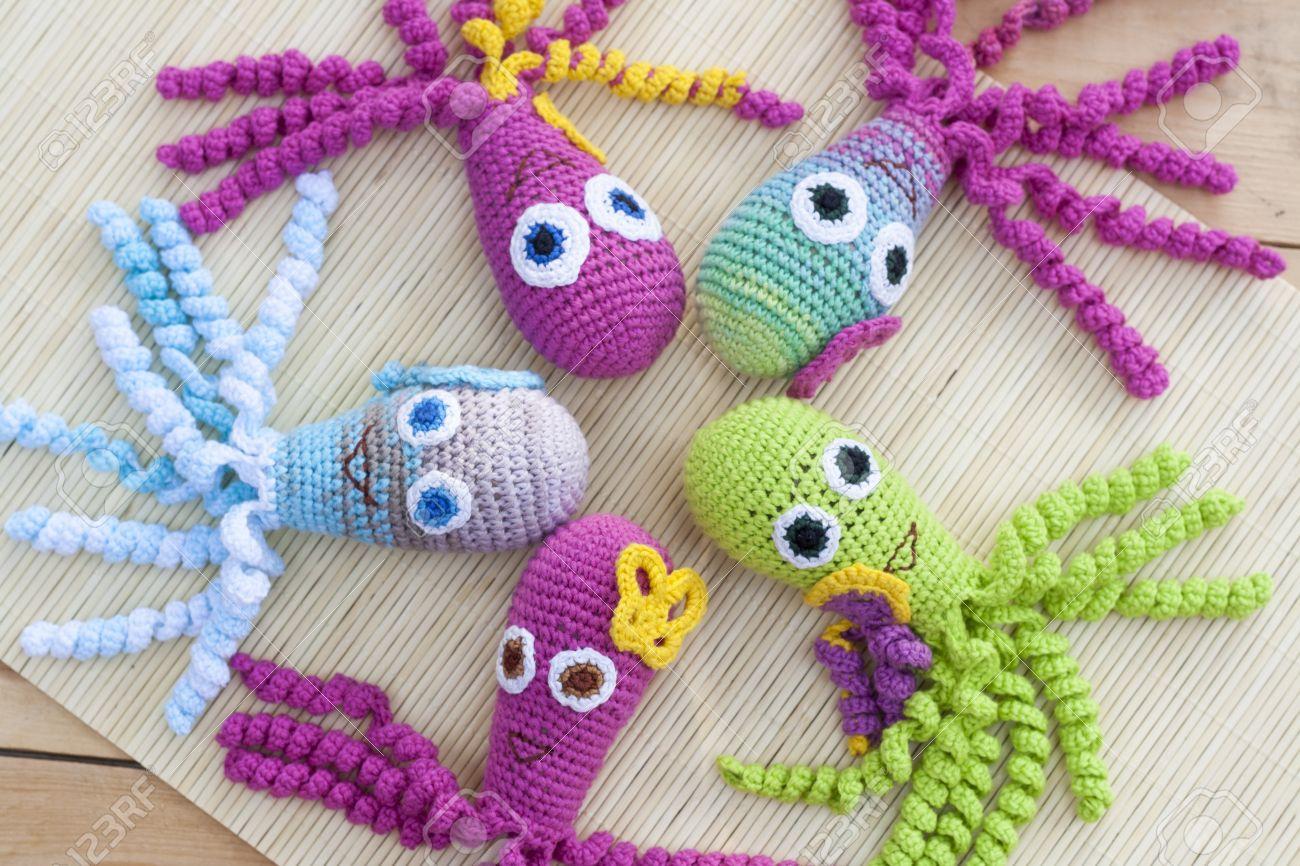 Tejidos A Crochet Tejida Con Lana De Color Pulpo Juguete Primer ...