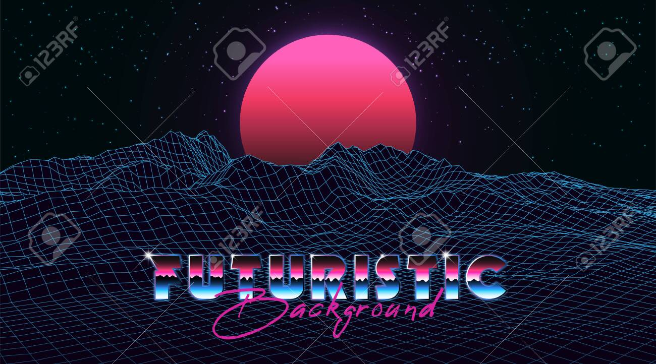 Abstract synthwave background completed in retro style  Futuristic