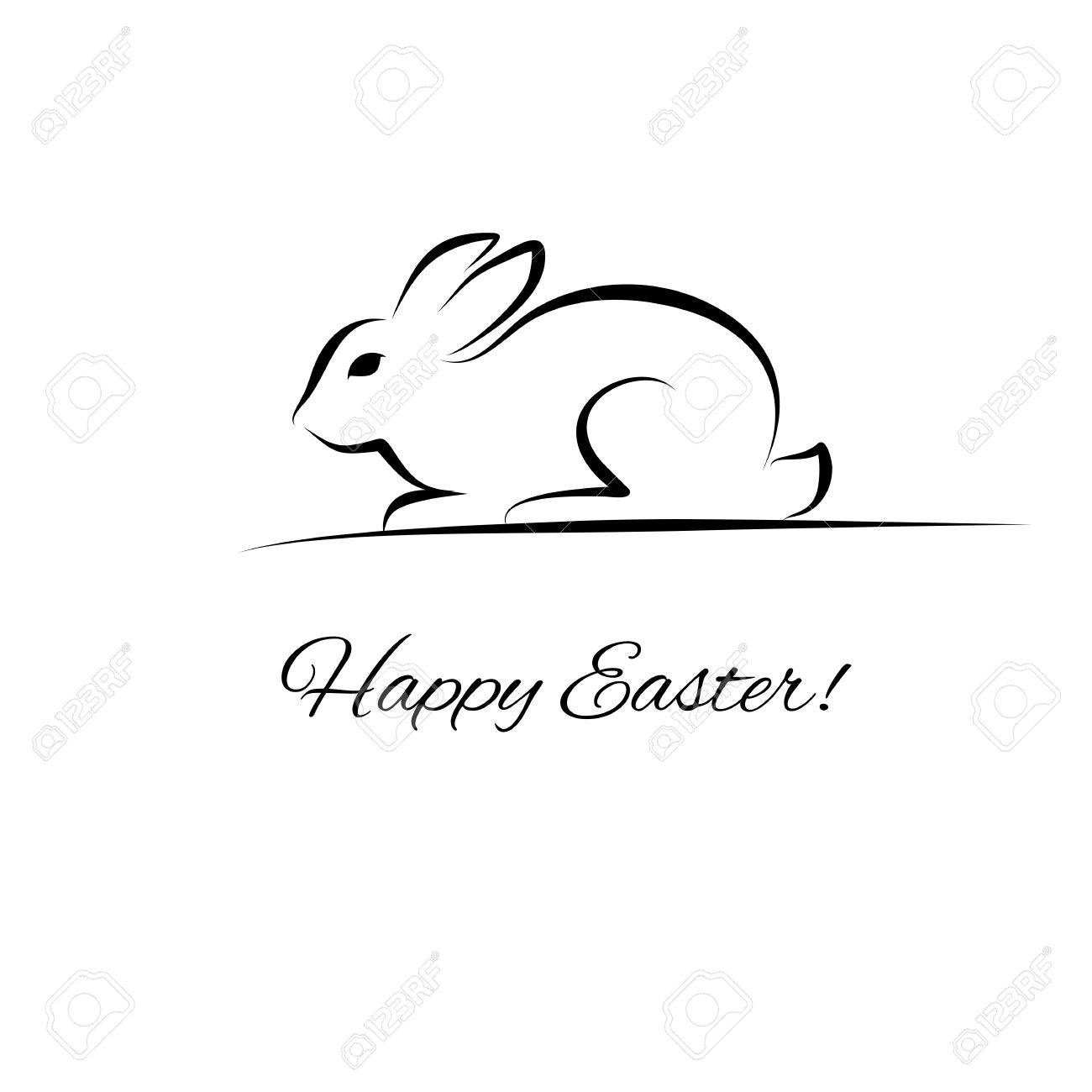 Easter Card With Rabbit Outline Royalty Free Cliparts, Vectors ...