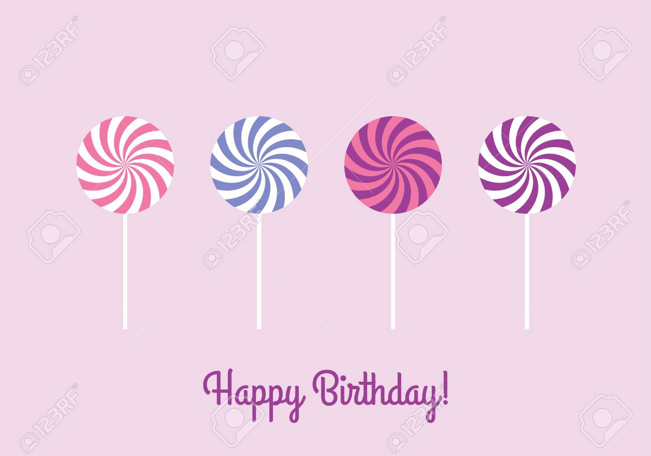 Happy Birthday Greeting Card With Sweet Lollipops Royalty Free