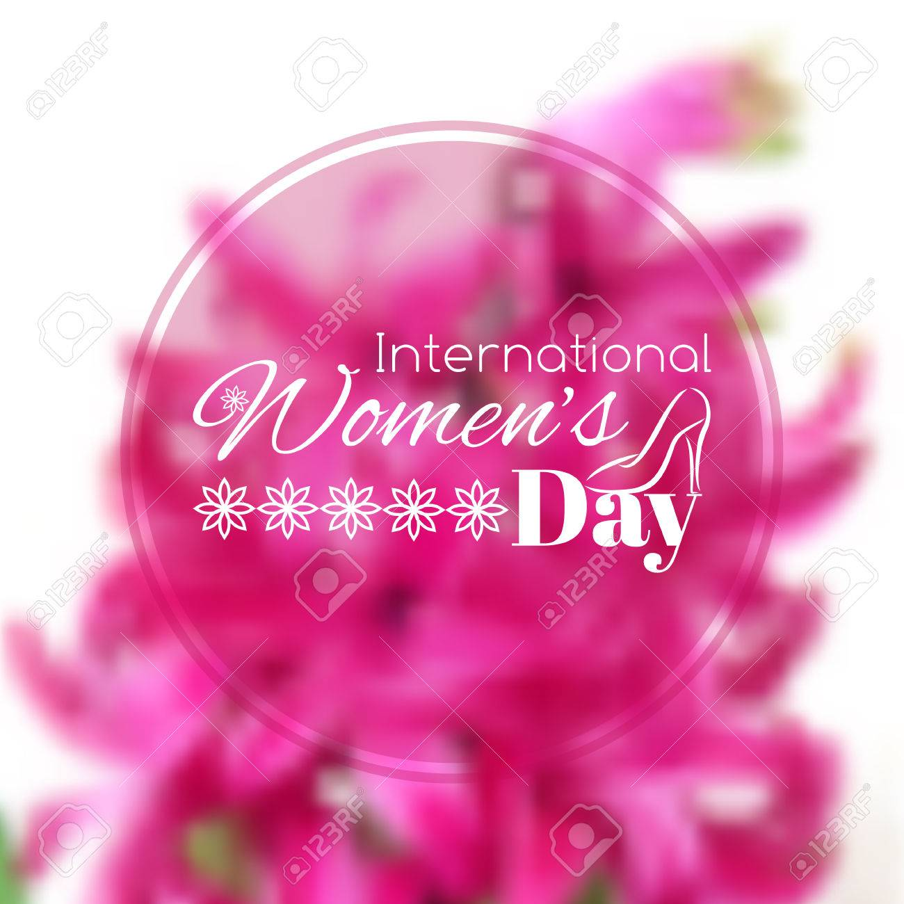 International Womens Day Greeting Card Vector Blurred Background
