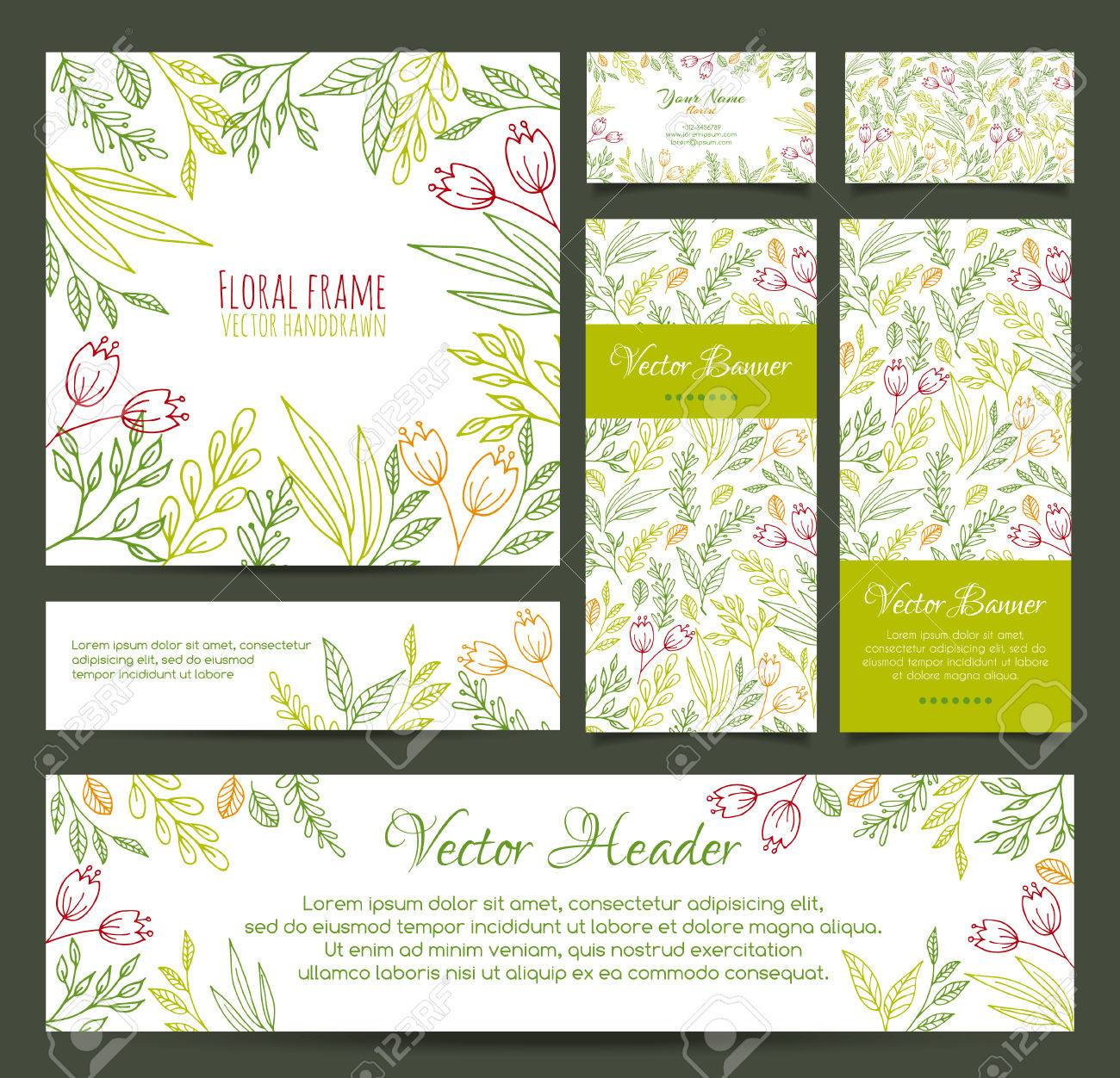 Set Of Vector Banners, Business Card, Frame, Invitations And ...