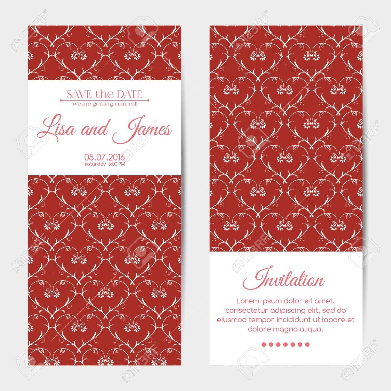 Vector Vertical Wedding Invitations. Floral Hearts Pattern Royalty ...