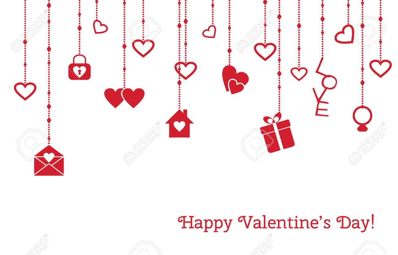 Greeting card for valentines day with hanging hearts gift love greeting card for valentines day with hanging hearts gift love letter stock vector m4hsunfo