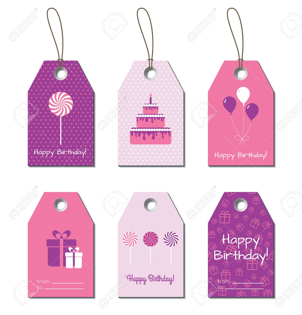 Happy Birthday Tags Greetings Small Gift Cards Labels For Gifts Design