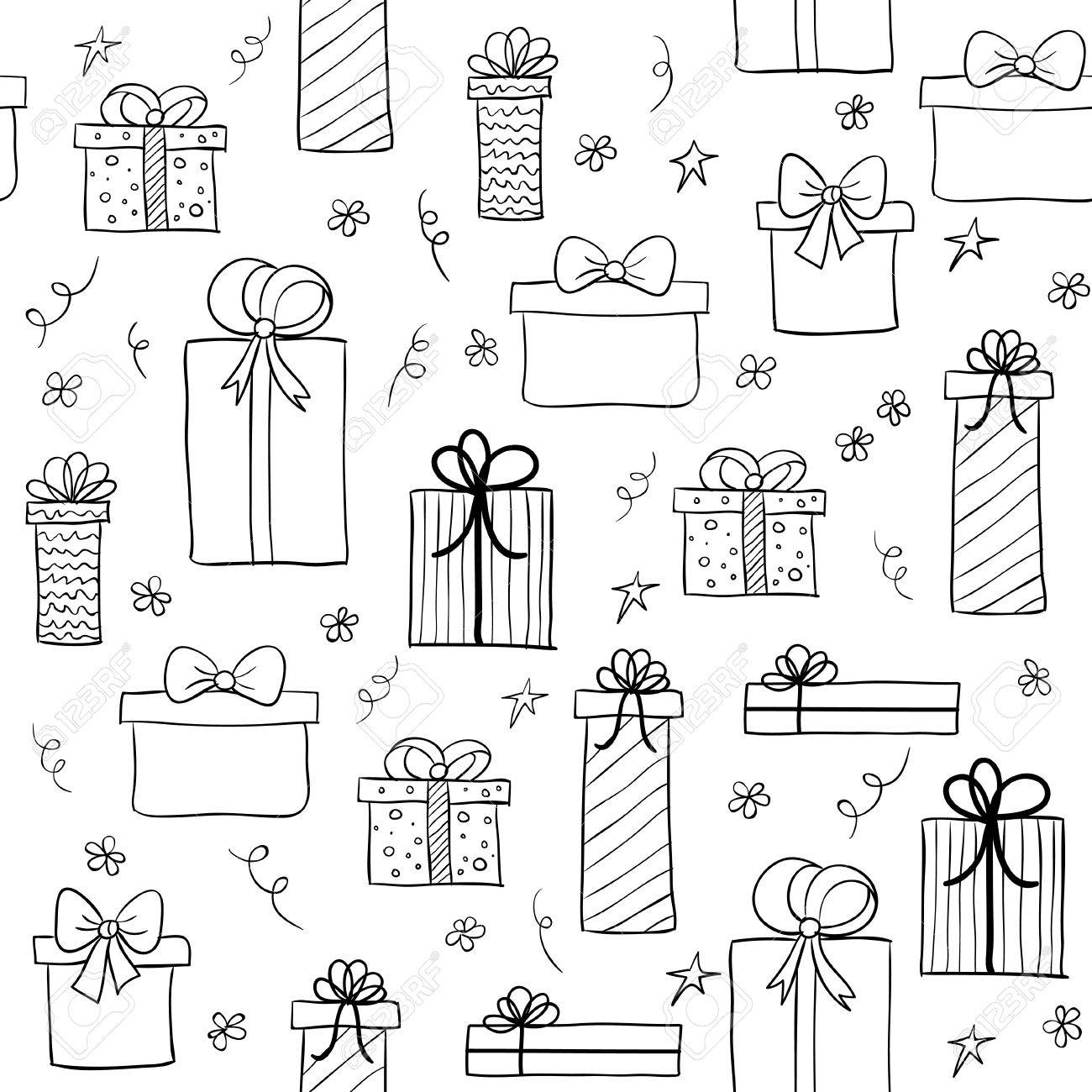 Seamless Pattern With Hand Drawn Gift Boxes May Be Used As A Coloring Book Stock