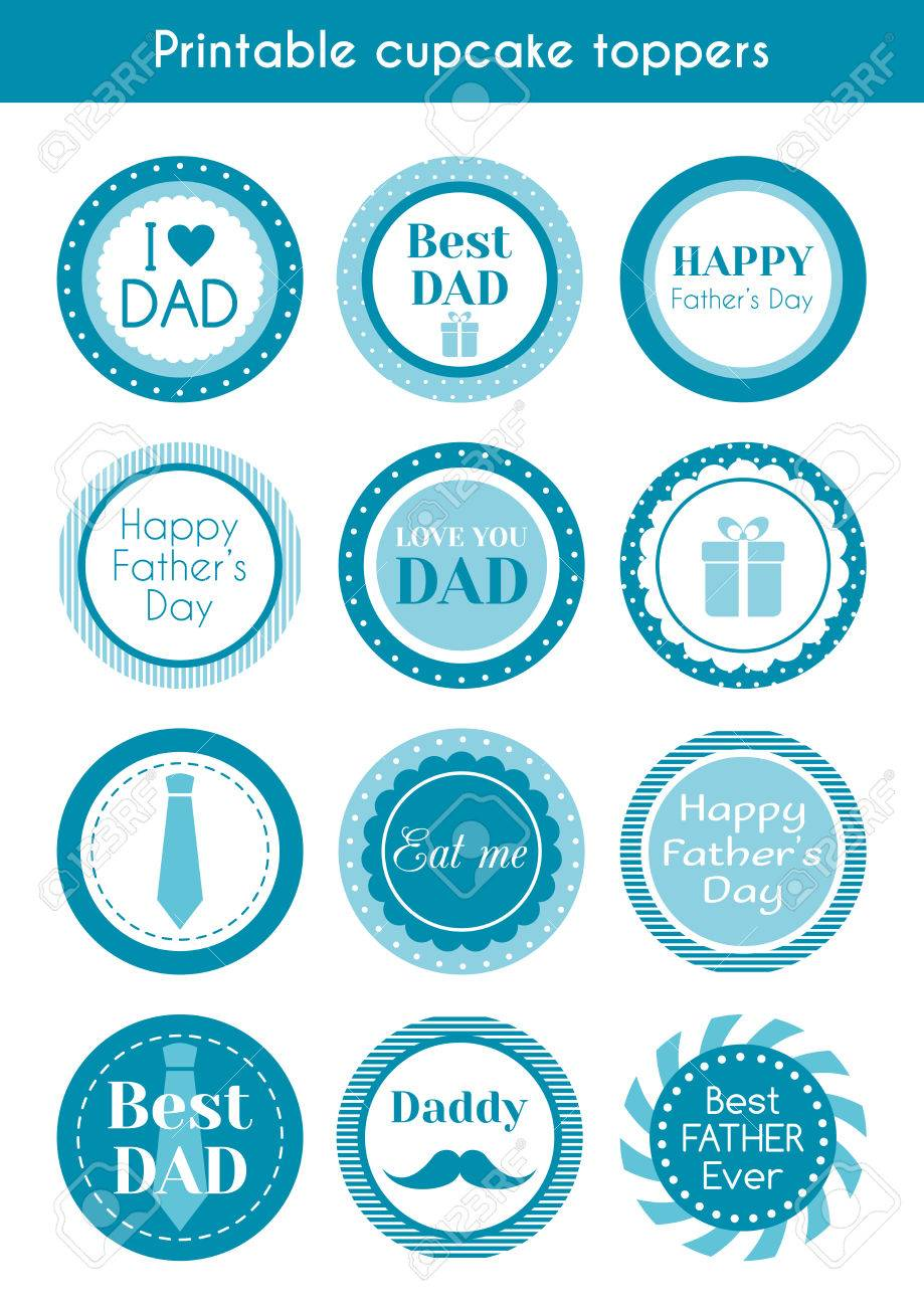 photo relating to Printable Circle Stickers named Printable cupcake toppers for fathers working day. mounted of labels, stickers,..