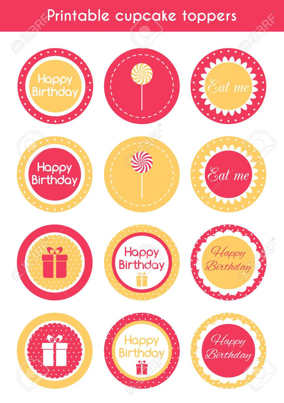 picture about Printable Cupcakes Toppers called Printable cupcake toppers. Vector mounted of cupcake toppers, labels..