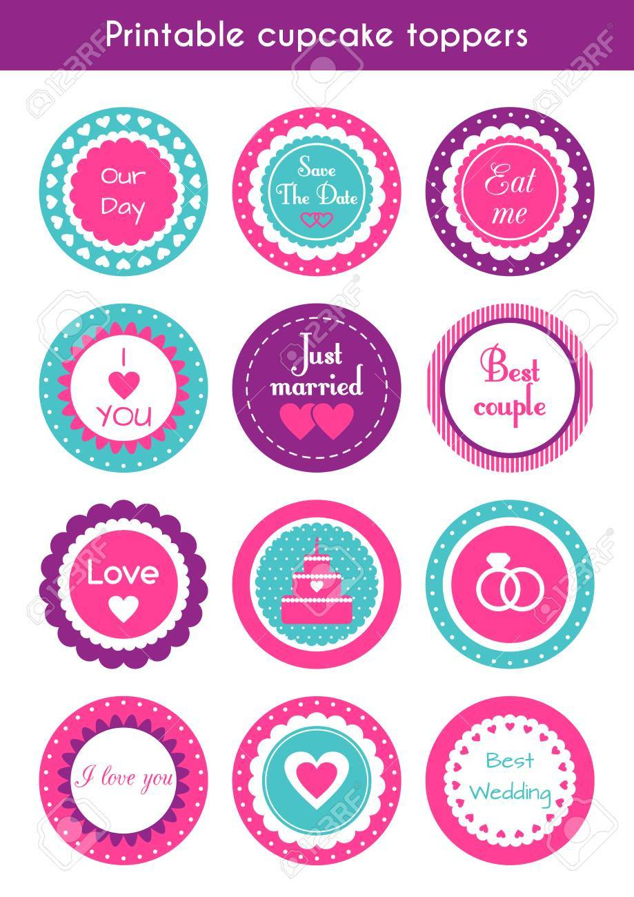 picture regarding Printable Cupcake titled fastened of spherical brilliant printable cupcake toppers, labels for marriage ceremony..