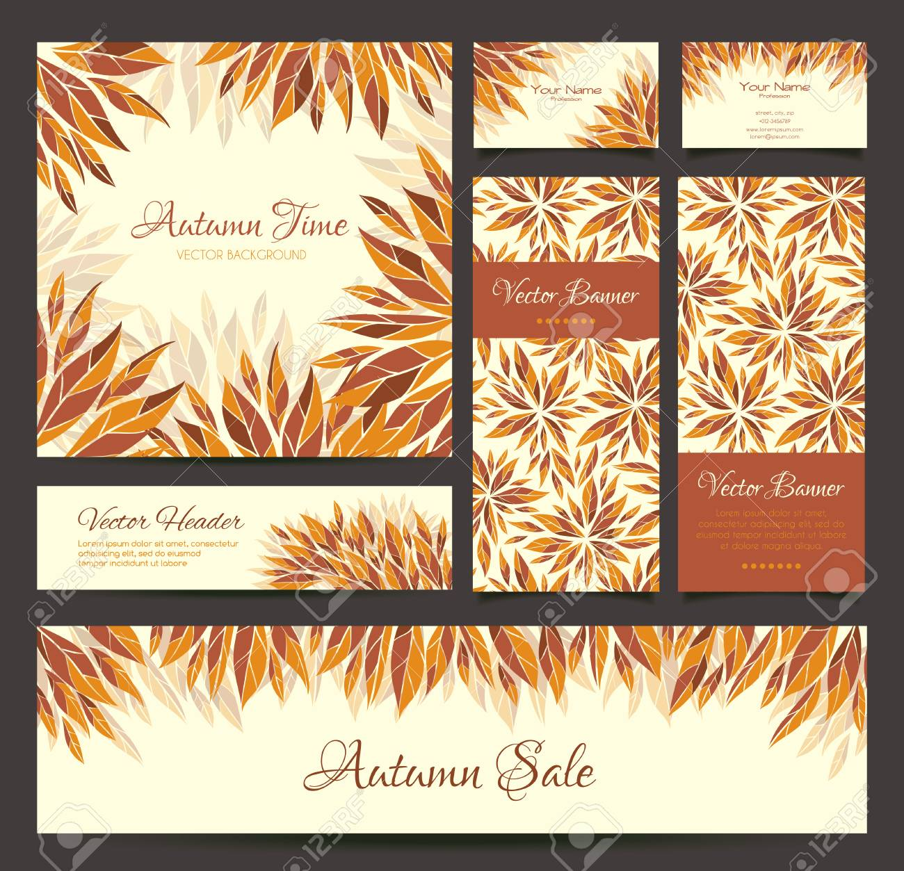 Set Of Vector Banners, Business Card, Frame And Headers In The ...