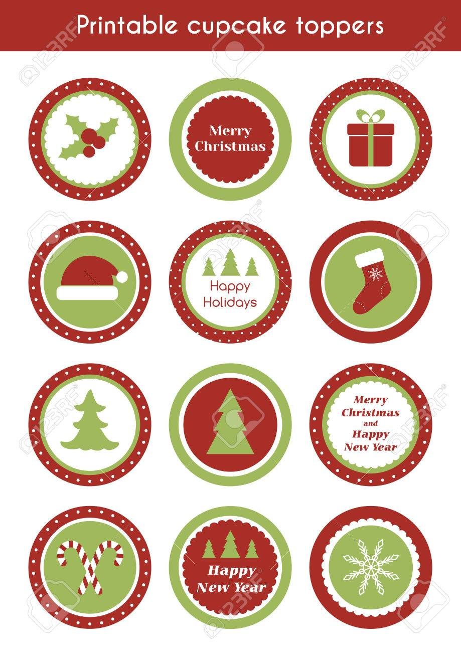 picture regarding Printable Stickers Round titled Xmas printable cupcake toppers. Vector established of spherical stickers,..