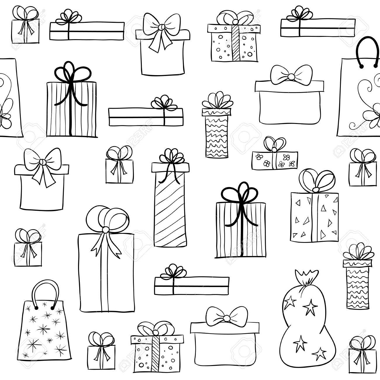Seamless Vector Christmas Pattern With Hand Drawn Gift Boxes ...