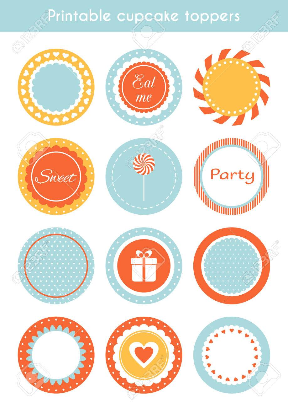 Labels Template | Vector Set Of Printable Tags Circle Cupcake Toppers Labels