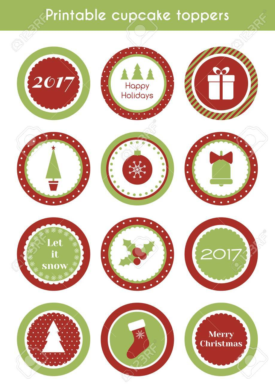photograph relating to Printable Stickers Labels named Xmas printable stickers. Vector mounted of circle cupcake toppers,..