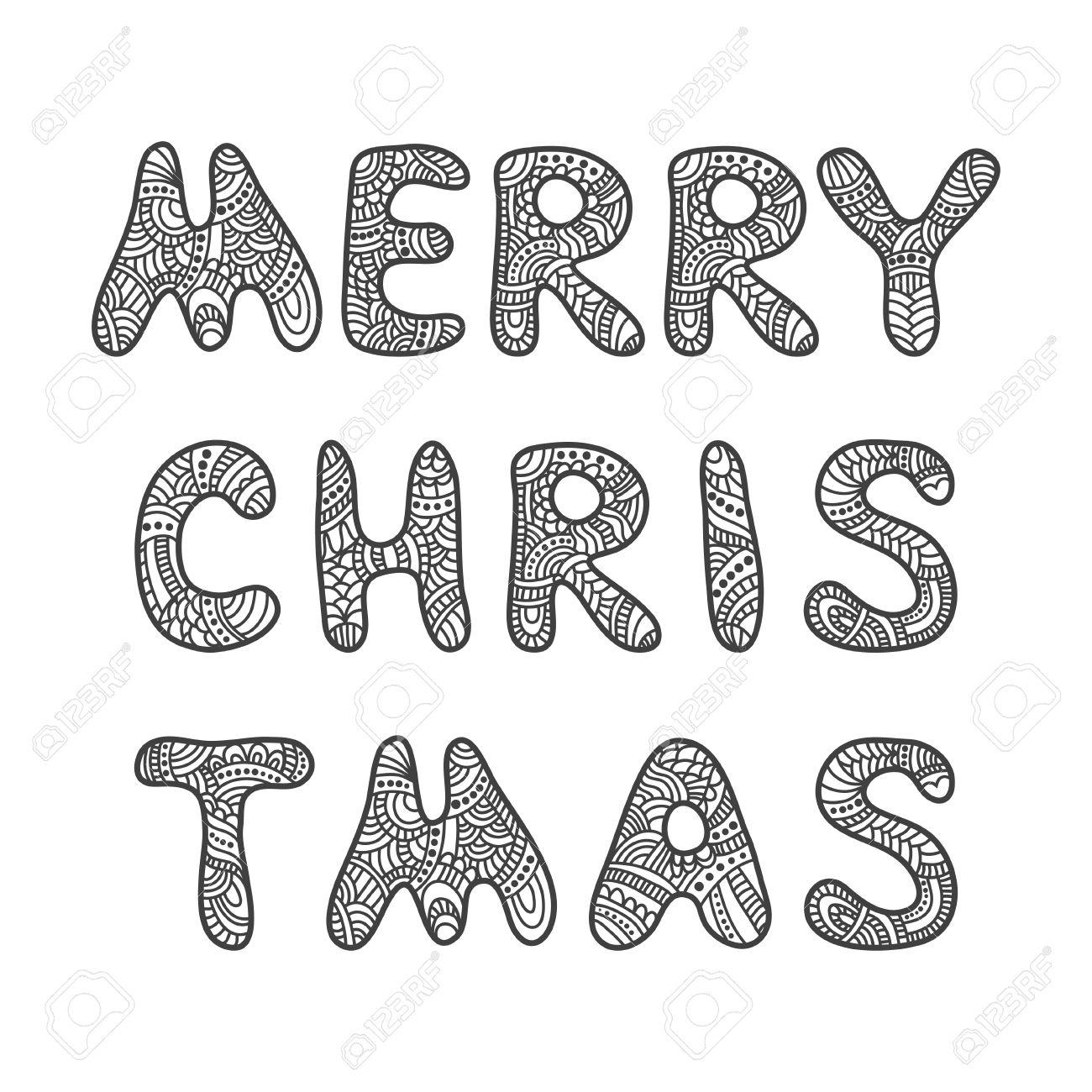 Tarjeta De Felicitación Feliz Navidad Letras. Vector Doodle Dibujado ...