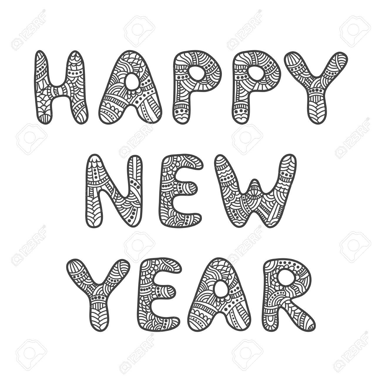 Feliz Tarjeta De Felicitación De Año Nuevo Letras Vector Doodle
