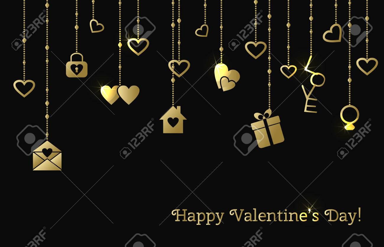Karte Zum Valentinstag Mit Goldenen Herzen Hängen, Geschenk, Brief ...