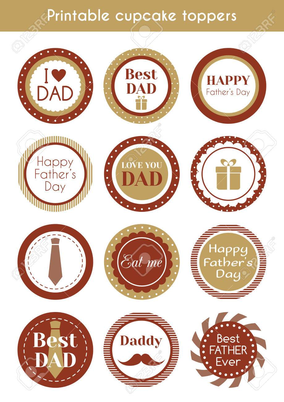 image regarding Printable Cupcakes Toppers identify Printable hipster cupcake toppers for fathers working day.