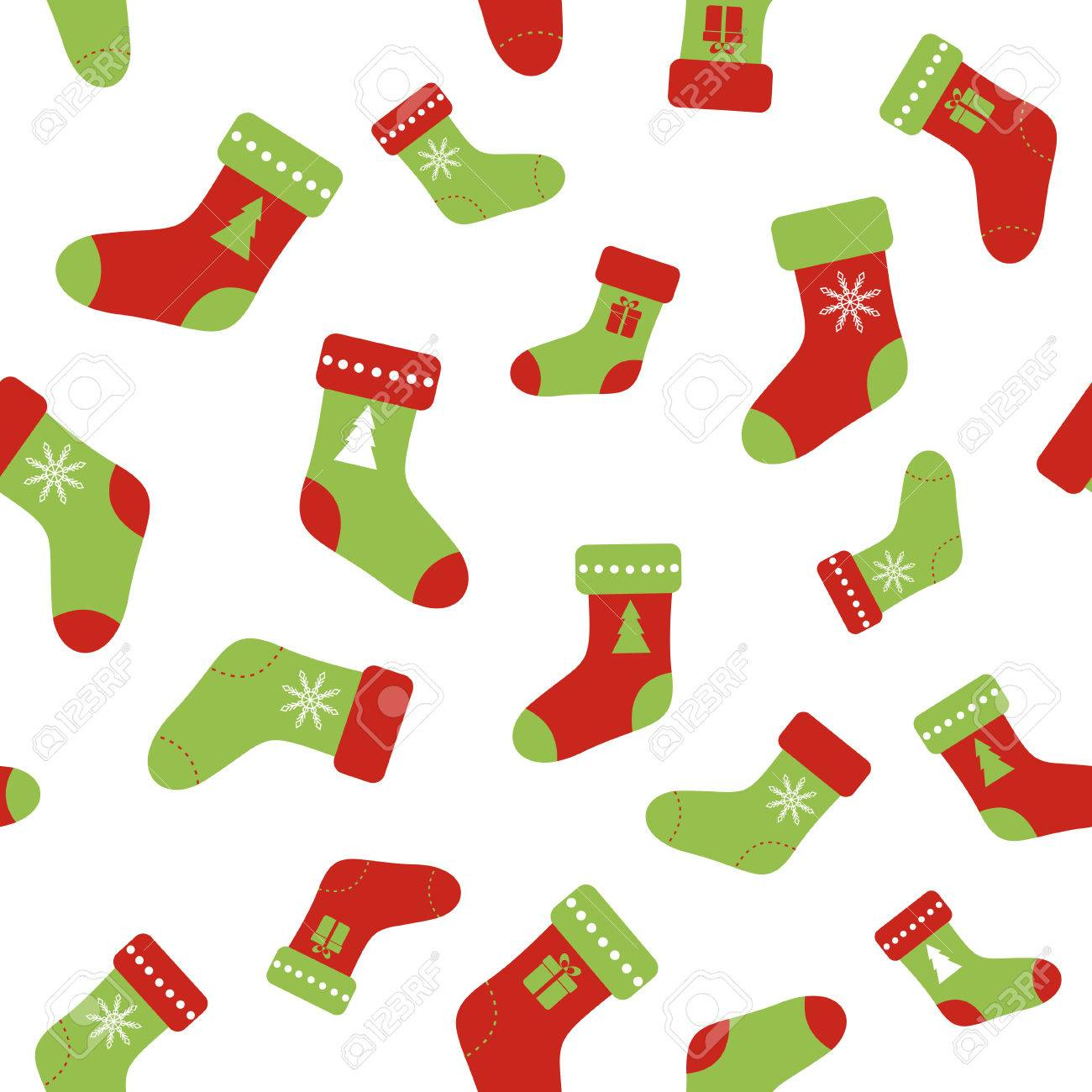 Seamless Pattern With Christmas Socks. Background For Wrapping ...
