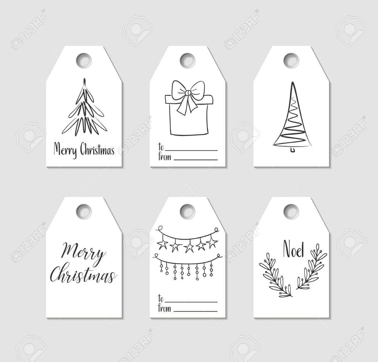 Christmas Tags.Hand Drawn Christmas Gift Tags Vector Labels