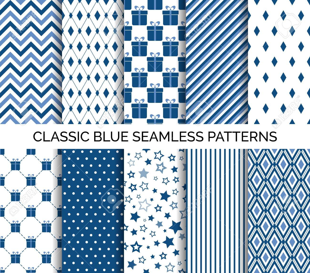 Set of classic blue seamless pattern. Vector abstract backgrounds. Chevron, polka dots, striped. For wallpaper design, wrapping paper, fabric print - 135447339