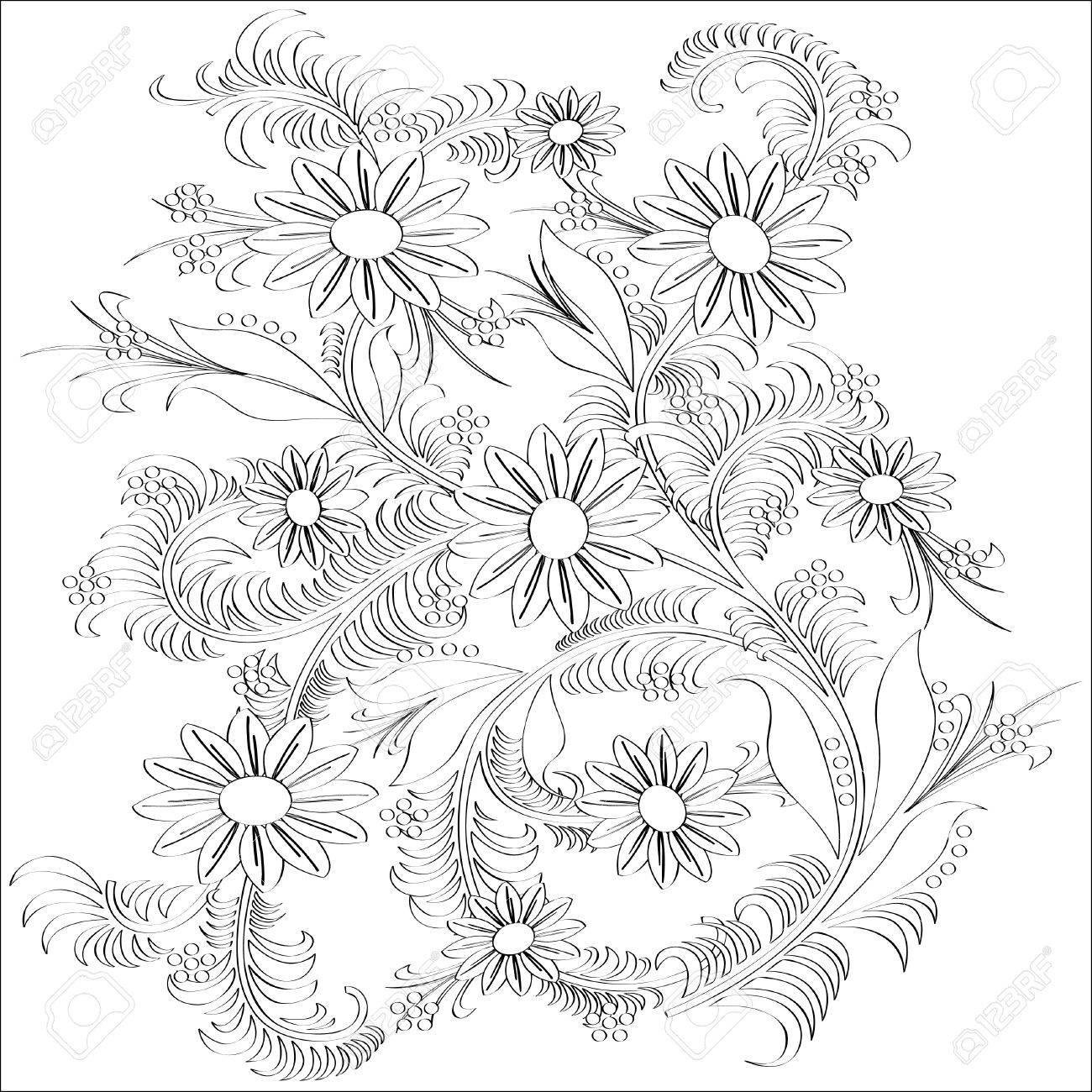 手描きアート花デザインベクトル イラストのイラスト素材ベクタ