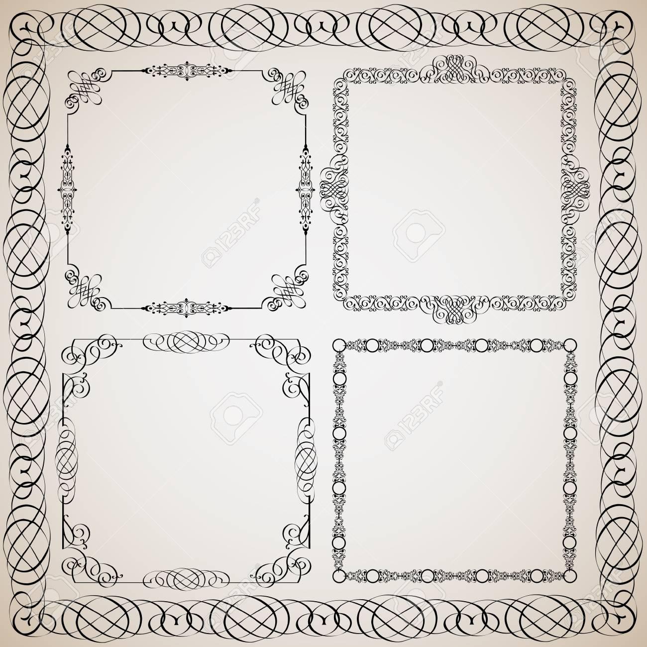 Set of Calligraphy frames.Vector design elements Stock Vector - 11552258