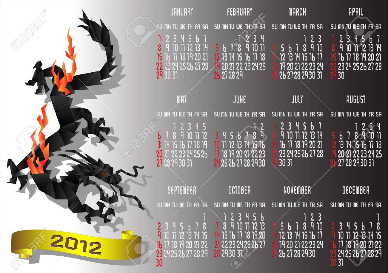 Origami Calendar 2012 with Chinese Black Dragon. Vector illustration Stock Vector - 11552256