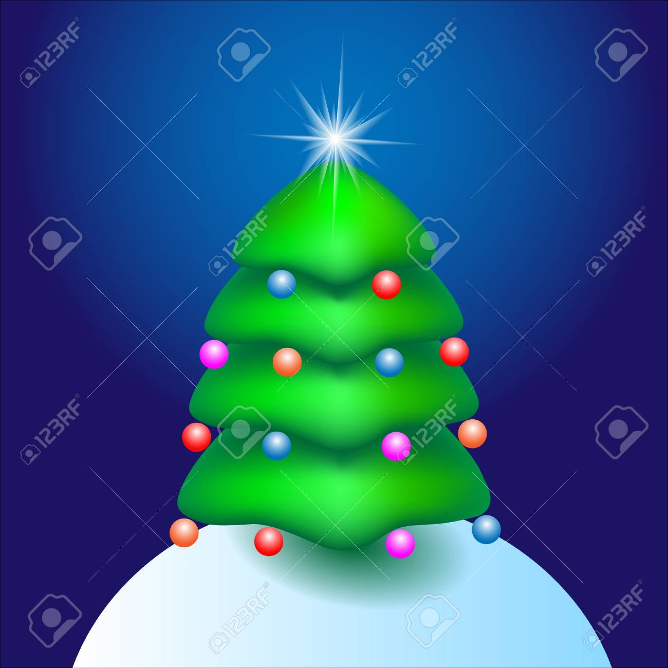 Christmas cartoon tree with star. Vector illustration Stock Vector - 11552291