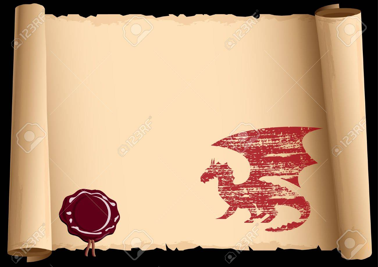 Old scroll with symbol 2012 year of Dragon. Vector EPS10. Stock Vector - 11552209