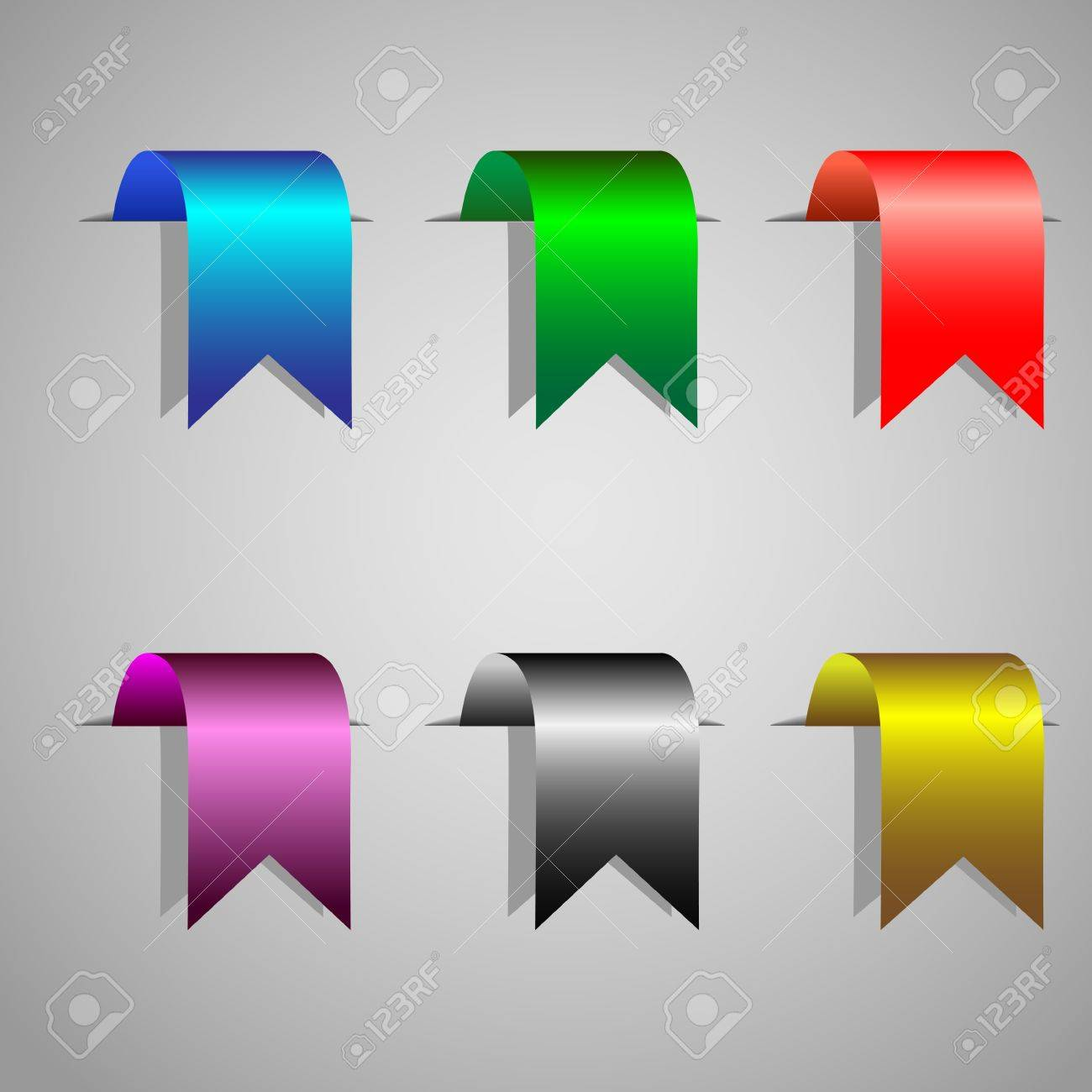 Colorful bookmark ribbons.Vector set Stock Vector - 11552239