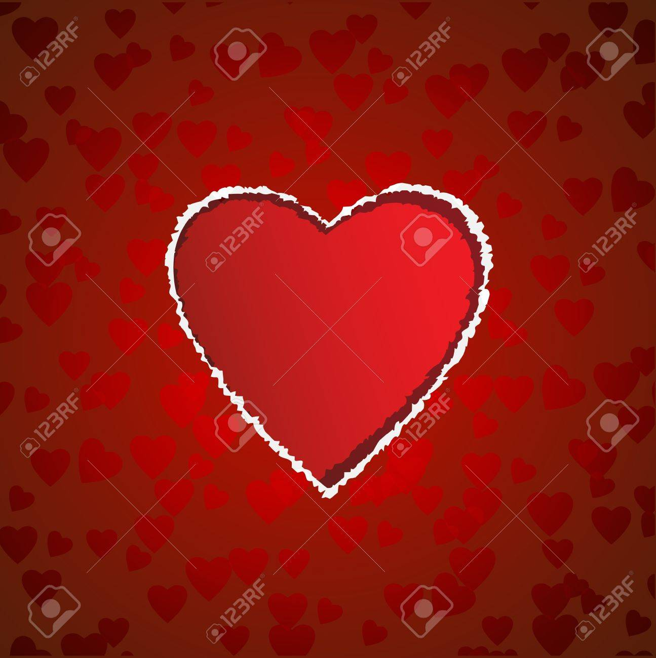 heart shaped torn paper vector valentine s card royalty free