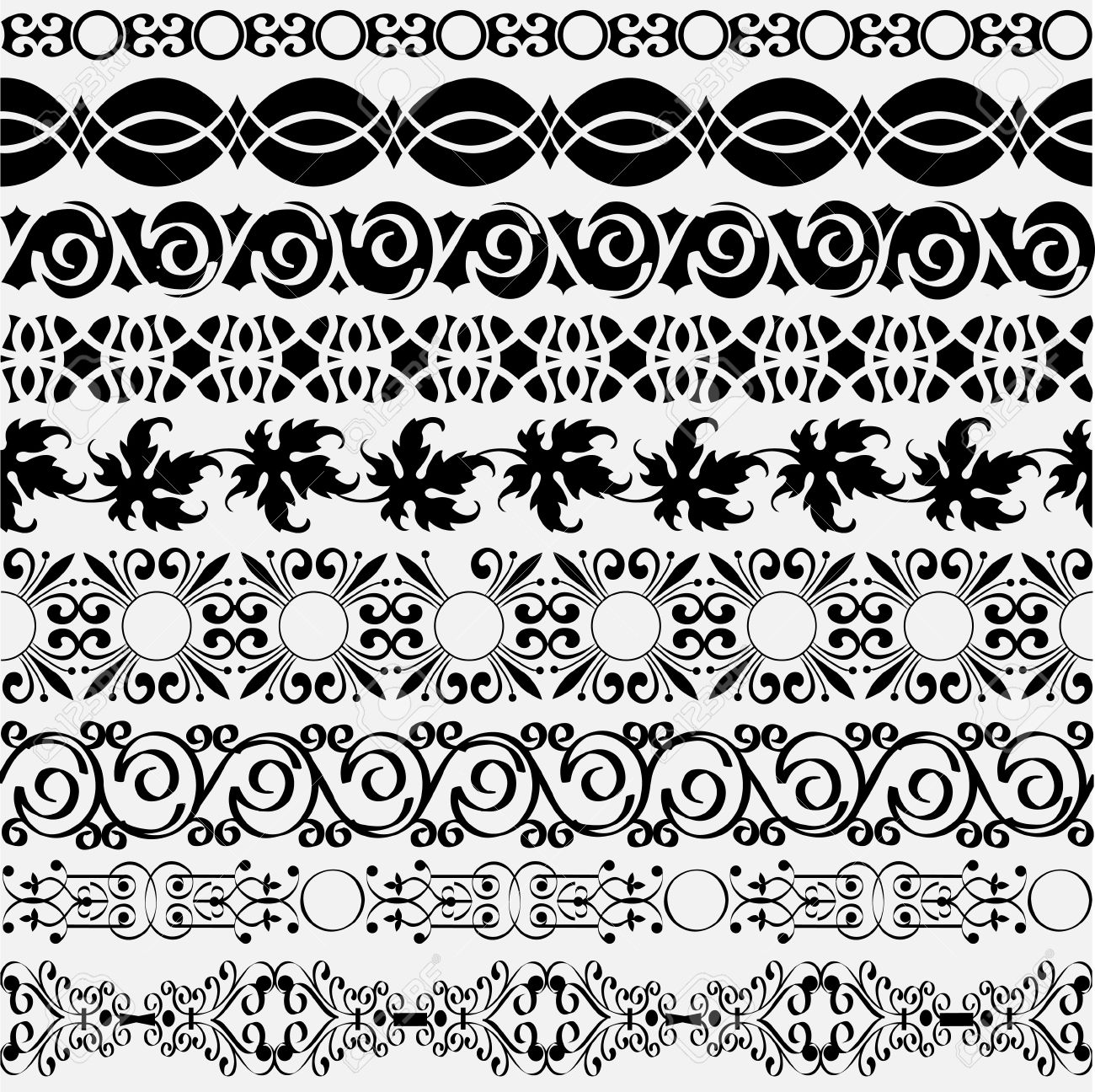 Collection of vintage borders for design. Vector eps10 Stock Vector - 12493810