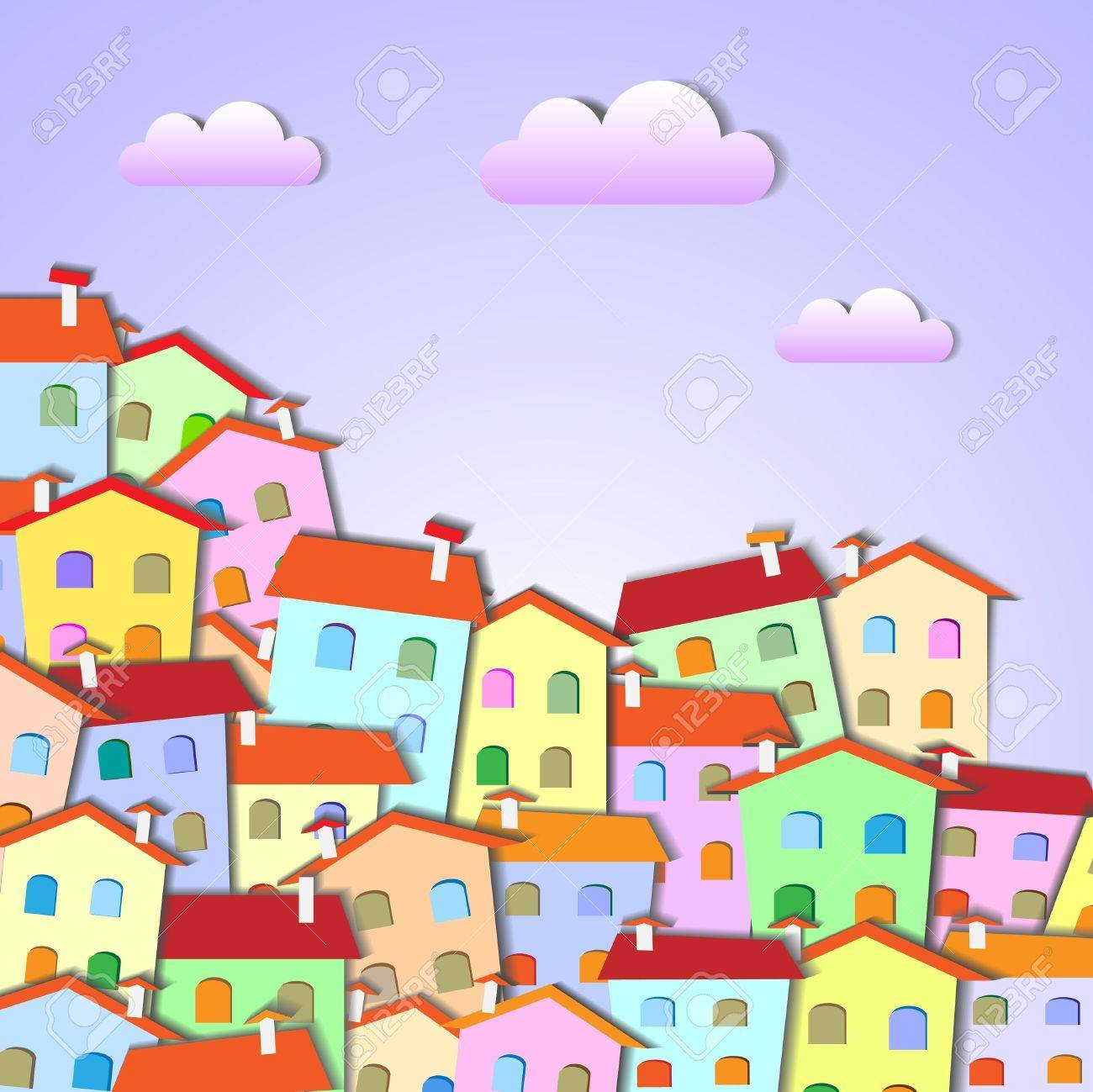 Colorful Little town .Vector paper-art Stock Vector - 12825734