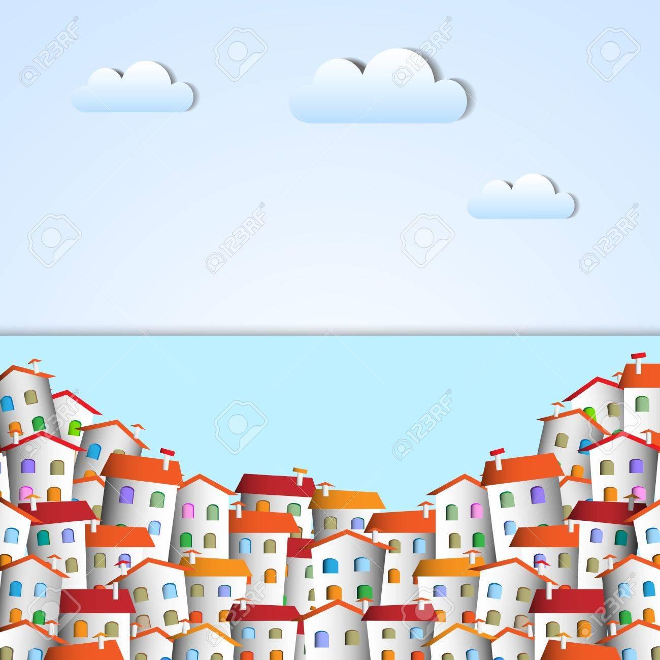 Little town. Vector paper-art Stock Vector - 12825719