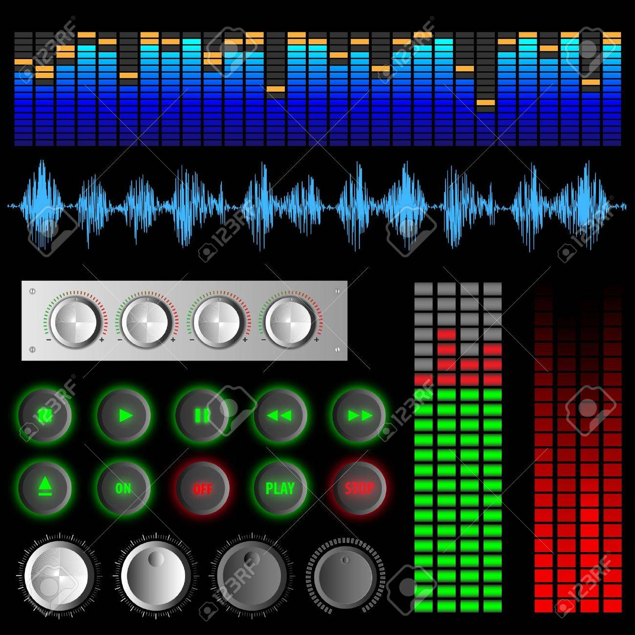 Software buttons and equalizers.Vector set Stock Vector - 12826845