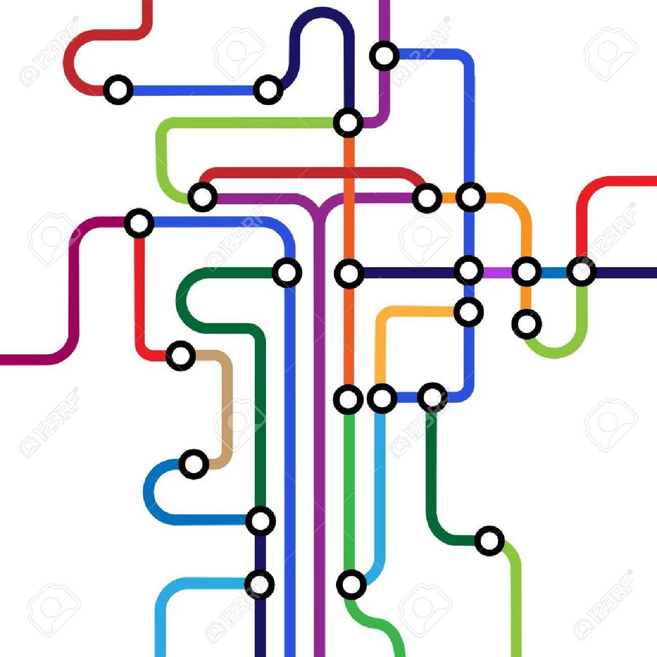 Colorful abstract subway map.